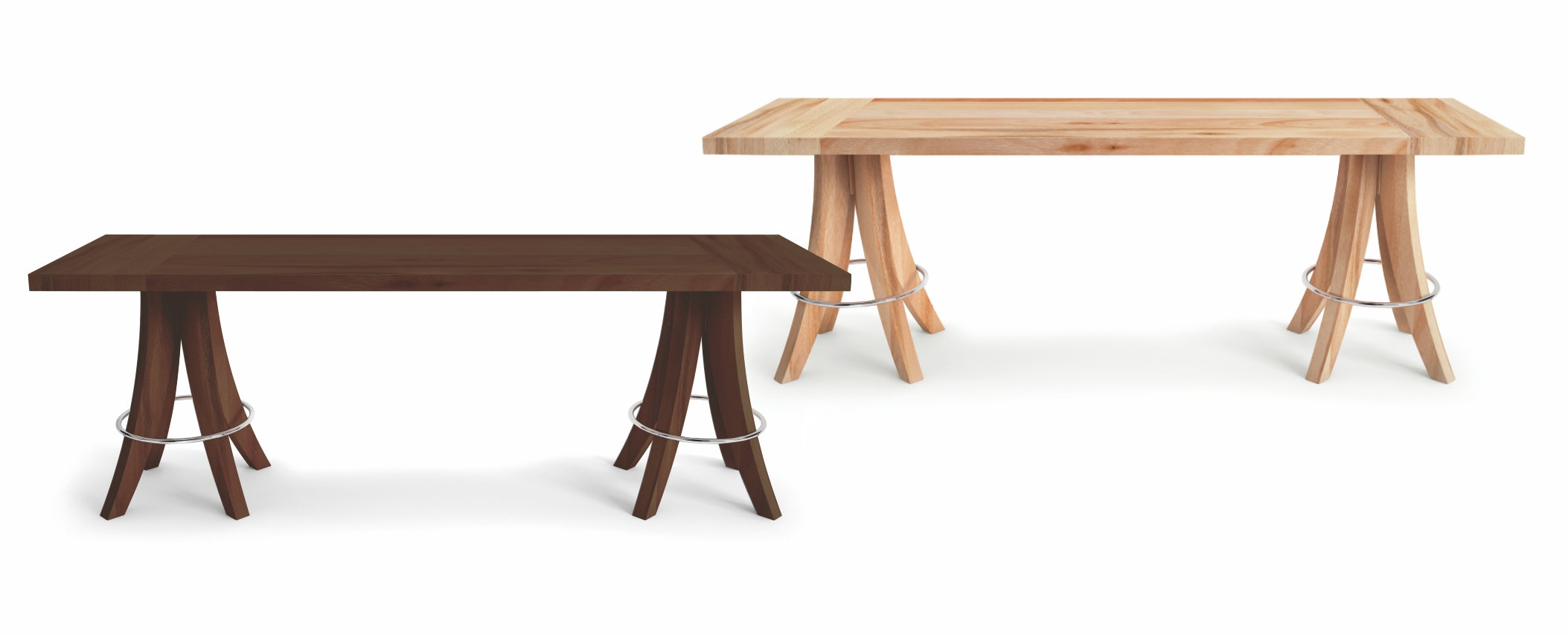 Banco 2 lugares com assento em madeira