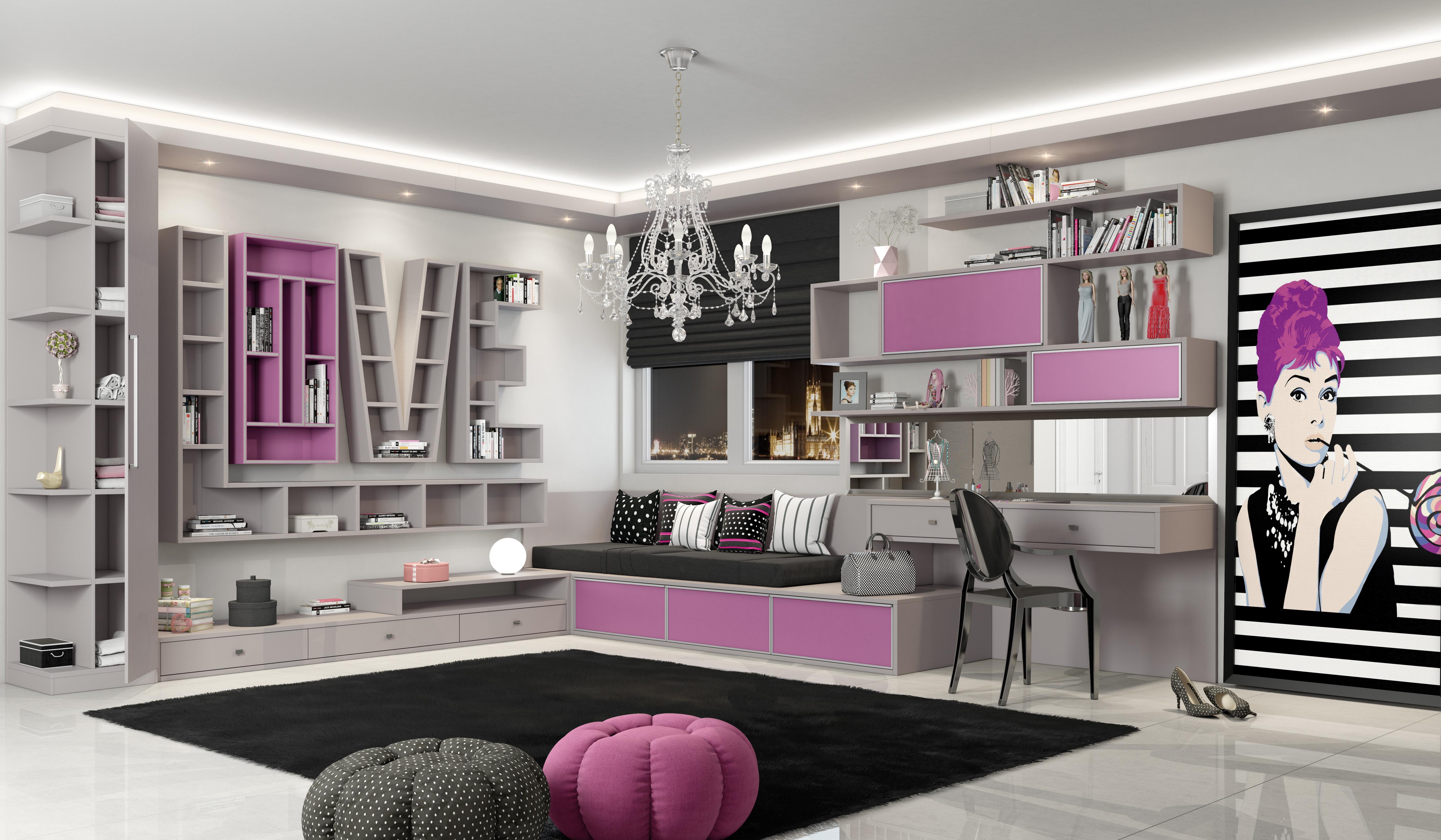 Dormitório Rosa Retro Fosco
