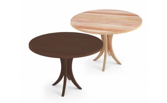 Mesa de jantar redonda 4 lugares com tampo em madeira