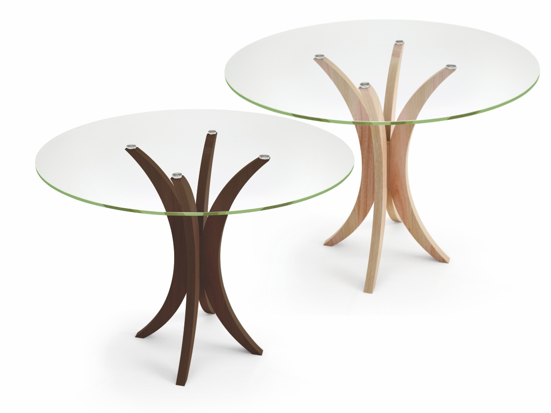 Mesa de jantar redonda 4 lugares com tampo em vidro incolor