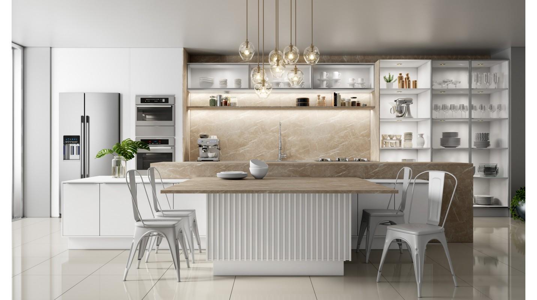 Cozinha Branco Mate-Mármore Crema